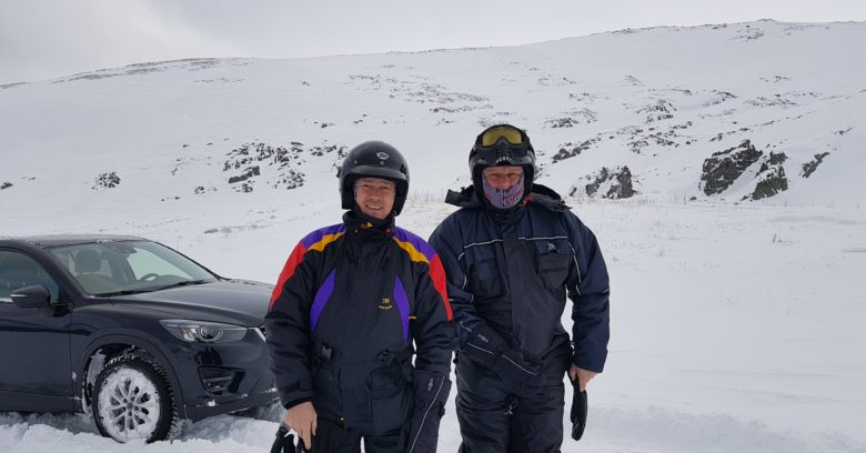 Hydrogenics Europe's CEO Filip Smeets and Project Manager Chris Van Oevelen geared up for a visit to Raggovidda.